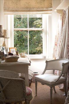 Chloe Cyphus' Studio With Kate Forman's Blue Roses Window Blind.