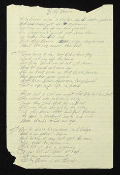 """Handwritten lyrics by Johnny Cash to the song """"Billy Brown."""""""