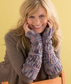 Textured Arm Warmers Free Crochet Pattern from Red Heart Yarns