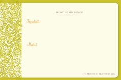 Recipe Cards: - Saffron Avenue : Saffron Avenue