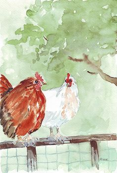 The Chicken Run by Maree Clarkson  Watercolour on Bockingford 300gsm.  Ginger: So laying eggs all your life and then getting plucked, stuffed and roasted is good enough for you, is it?  Babs: It's a livin'. Two of my hens taking refuge on top of the fence surrounding the wildlife pond in my garden (Tarlton, South Africa), trying to get away from the onslaught of the Roosters. I've got far too many roosters, but am finding a home for them this coming week. (Chickens)