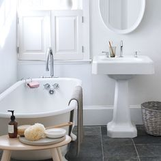 """Cleaning Tips for Bathroom I saw this in """"Spring Cleaning in Martha Stewart Living April Bathroom Cleaning, Home, Bathroom Inspiration, Bathroom Windows, Bathroom Decor, Bathroom Window Treatments, Beautiful Bathrooms, White Bathroom, Bathroom Design Inspiration"""