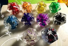 Official Dragon Dice by LittleCLUUs | d20 20d dice with a dragon inside | rainbow colorful dragons, in a clear transparent dice | dnd dungeons and dragons board game
