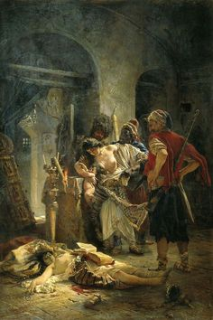 """""""The Bulgarian Martyresses"""", 1877 painting by the Russian painter Konstantin Makovsky, depicting the rape of Bulgarian women by Ottoman bashi-bazouks during the supression of the April Uprising a year. Russian Painting, Russian Art, National Art Museum, Academic Art, Classical Art, Art Graphique, Oeuvre D'art, Art History, Illustration"""