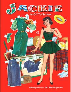 "POST CARD ""JACKIE Is Off To School""  From Jackie, Jeff and Julie, Merrill 1961"