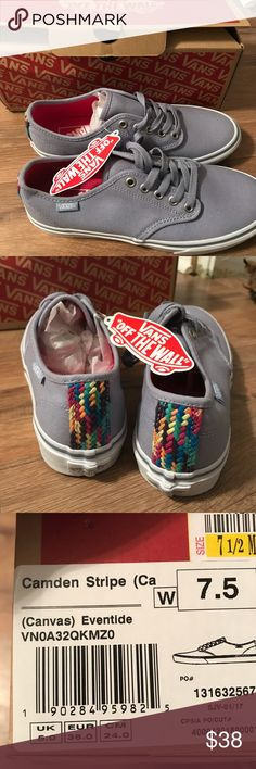 NTW Size 7.5 Blueish-Gray Vans Brand new Vans size 7.5. They are a blue-gray color with a beautiful rainbow strip on the back. Vans Shoes Sneakers
