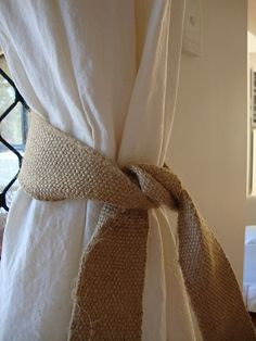 Pair this burlap with white sheer curtains instead!