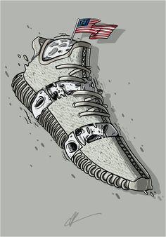 'flag moon sneakers' Poster by iawety Handy Wallpaper, Nike Wallpaper, Wallpaper Backgrounds, Tenis Adidas Yeezy, Yeezy 350 Moonrock, Chris Brown Art, Basketball Drawings, Kanye Yeezy, Sneakers Wallpaper