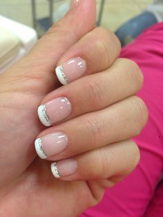 Wedding nails but with pink glitter not silver