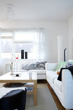 Sofas and armchair surround coffee table, TV on cabinet and ceiling lamp Home Living Room, Living Room Designs, Ikea Stockholm, Room Interior, Interior Design, Sofa Tables, Next At Home, Interior Architecture, Contemporary