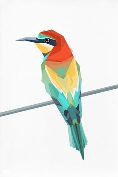 Geometric illustration European Bee Eater by tinykiwiprints