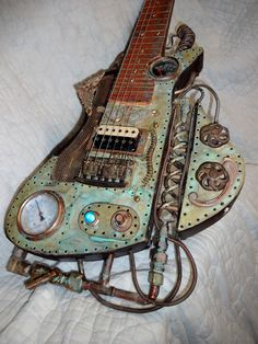 Fully functional lapsteel guitar ala Steampunk style. My latest build