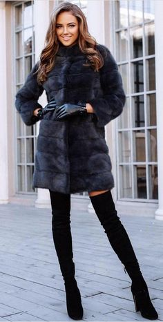 Fur Coat // Leather Gloves // Over-the Knee Boots                                                                             Source