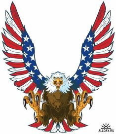 Illustration of Vector cartoon clip art illustration of a mean screaming bald eagle flying toward the viewer with wings spread and talons out. Wings are treated with American flag graphics and colors. vector art, clipart and stock vectors. Art And Illustration, Illustration Meaning, Tattoo Illustrations, Hanging Tapestry, Hanging Wall Art, Wall Hangings, Free Vector Graphics, Free Vector Art, Clipart
