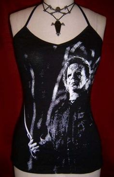 HALLOWEEN diy halter tank top  girlie  Rob Zombie horror movie film reconstructed shirt XS S on Etsy, $33.00