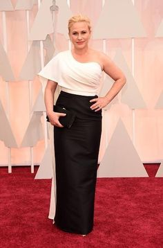 Academy Awards 2015 Red Carpet Arrivals - Patricia Arquette in Rosetta Getty from InStyle Oscars Patricia Arquette, Oscar Fashion, Fashion Week, Look Fashion, Red Carpet Ready, Red Carpet Looks, Celebrity Red Carpet, Celebrity Style, Celebrity Photos
