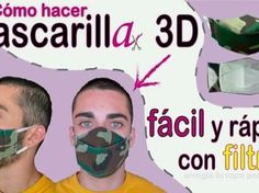 DIY Mascarilla camuflaje 3D con filtro Diy Clothes, 3 D, Memes, Molde, Modeling, Russian Style, Pdf Sewing Patterns, Fabric Ribbon, Take Action