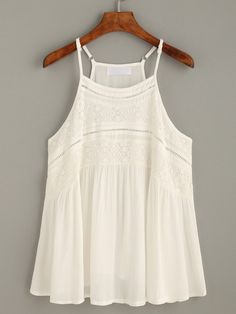 To find out about the White Hollow Lace Insert Cami Top at SHEIN, part of our latest Tank Tops & Camis ready to shop online today! Simple Outfits, New Outfits, Pretty Outfits, Beautiful Outfits, Spring Outfits, Cool Outfits, Casual Outfits, Fashion Outfits, Fast Fashion