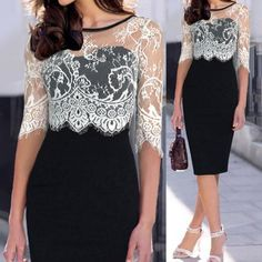 Stylish Jewel Neck 1/2 Sleeve Lace Splicing Bodycon Sheath Dress For Women (WHITE AND BLACK,2XL) in Lace Dresses | DressLily.com