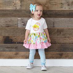 Baby Girl Multi Chick Pink Dot Ruffle Dress