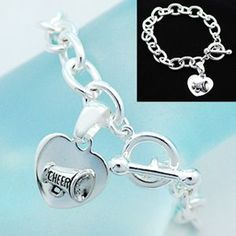 cheerleading jewelry | Silver Heart Cheer Toggle Bracelet