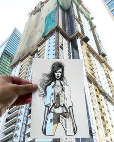 """ilustrador moda e arquitetura  Shamekh Al-Bluwi lançou a série """"cut-outs"""""""