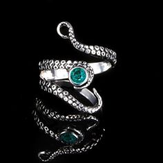 Silver Adjustable Octopus Tentacle Ring With Blue Rhinestone