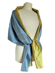 Double Sided Silk Evening Wrap - Powder Blue/Citrine by Taigan