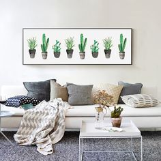Cheap wall painting, Buy Quality tropical painting directly from China desert painting Suppliers: Delicate Fresh Wall Painting Tropical Desert Green Plant Cactus With Red Flowers Wall Poster Pictures For Kids Room Sofa Decor