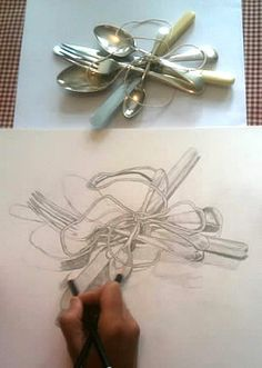 Drawing from observation: forks tied with string. This superb observational drawing exercise is one set by artist and teacher Julie Douglas.