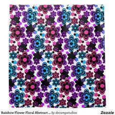 Rainbow Flower Floral Abstract Teen Girl Shower Curtain