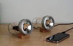 Speakers in mason Jars. Brilliant. A project for....he who never looks at Pinterest:)