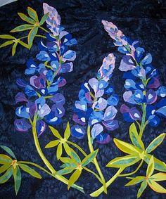 Beautiful Texas Bluebonnets in fabric. A Melinda Bula pattern.