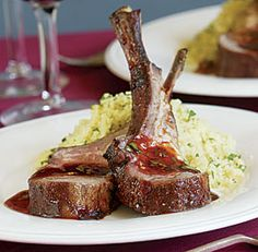 Fourth Course: Rack of Lamb with Ancho-Honey Glaze.  A richer course with  spicy sweetness. From Fine Cooking.