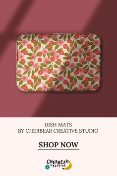 Summer Floral Dish Mat by Cherbear Creative Studio Sustainable Living, Sustainable Fashion, Fabric Design, Pattern Design, Eco Friendly House, Creative Studio, Graphic Design, Dishes, Beautiful