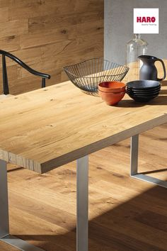 HARO Dining Tables are produced from original HARO Oak Timber. Whether rustic or classical – this contemporary table is stunning. Timber Planks, Timber Flooring, Wood Benches, Wood Table, Dining Table Dimensions, Dining Tables, Kitchens, Community, Interior Design