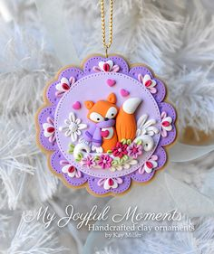 Handcrafted polymer clay ornament by MyJoyfulMoments on Etsy Polymer Clay Ornaments, Cute Polymer Clay, Cute Clay, Fimo Clay, Polymer Clay Charms, Polymer Clay Projects, Polymer Clay Creations, Clay Crafts, Polymer Clay Jewelry