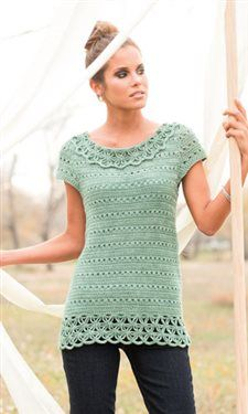 I love the incredible crochet lace at the hem and neckline of this crochet sweater. Filigree Shell by Natasha Robarge - Crochet Me