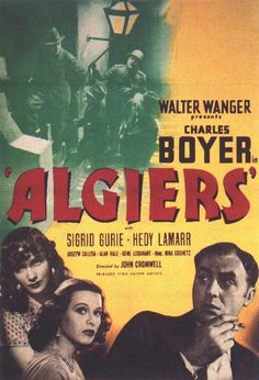 #944. Algiers, September, 2016. In Algiers, Algeria, notorious thief Pepe le Moko evades police capture by hiding within the maze-like Casbah district. Pepe's renown makes him a popular target not only with policeman Javier but also sympathetic Inspector Slimane and jealous thief Regis. Through Slimane, Pepe meets the beautiful American Gaby and becomes obsessed with her. Regis' plan to lure Pepe out into the open falls apart, until Pepe learns that he may never see Gaby again.