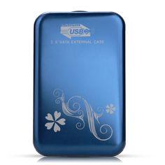"Durable 2.5"" SATA External Hard Drive Enclosure Housing Case Hard for USB3.0 Blue"