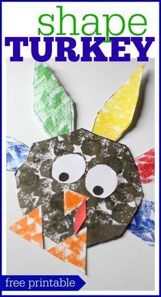 Free Printable Shape Turkey Craft - Shape Turkey for Preschoolers