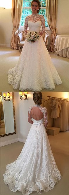 Stylish High Neck Long Sleeves Sweep Train Lace Wedding Dress with Bowknot Backless - Wedding Dresses Wedding Dresses 2018, Backless Wedding, Long Sleeve Wedding, Wedding Dress Sleeves, Cheap Wedding Dress, Bridal Dresses, 2017 Wedding, Trendy Wedding, Dress Lace