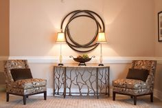 ROOMS: Project Reveal: Church Foyer Makeover / The table adds interest and wouldn't make a small room feel crowded..lights to brighten