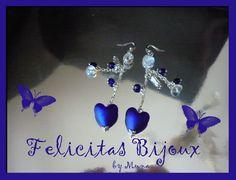 Capri Earrings with pearl heart-shaped cobalt blue of Venice  glass. (Handmade)