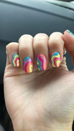 Summer Shellac Nails, Colorful Nail Art, Jelly Nails, Striped Nails, Ballerina Nails, Nail Inspo, Pedi, Nails Inspiration, Psychedelic