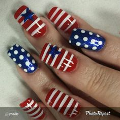 Forth of July! 4th Of July Nails, Fourth Of July, Art Nails, Acrylic Nails, Summer Pedicures, Beauty Tips, Beauty Hacks, New Nail Designs, Toenails