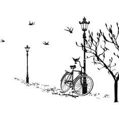 The Wall Decals of Lamp and Bicycle design features a Bike or Bicycle leaning on a lamp post next to a tree and is at street level. The perspective image creates the illusion of a continuous landscape and features flying birds. Vinyl Wall Decals, Wall Stickers, Diy Image, Foto Transfer, Silhouette Curio, Bicycle Art, Bike, Style Retro, Deco Design
