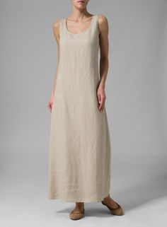 Linen Scoop Neck Sleeveless Long Dress Light Pink