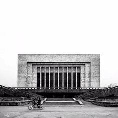 National Museum, (former Lenin Museum), Bishkek, Kyrgyzstan, built in 1984. Architect: V. Anistratov, S. Abyshev, R. Asylbekov, K. Ibrayev, V. Ivanov, A. Kudelya, M. Kerimkulov, M. Saltybayev, O. Chestnokov, N. Kravtsov/ Kyrgyz Giprostroy © BACU #socialistmodernism