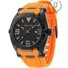 Police - Mens Orange Rubber Strap Black Dial Raptor Watch